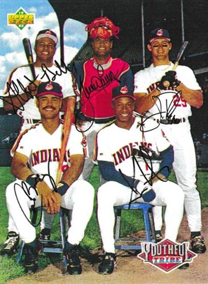 Cleveland-indians-baseball-memorabilia-signed-upper-deck-players-trading-card-Albert-Belle-Sandy-Alomar-Jim-Thome-Carlos-Baerga-Kenny-Lofton-autograph-youthful-tribe