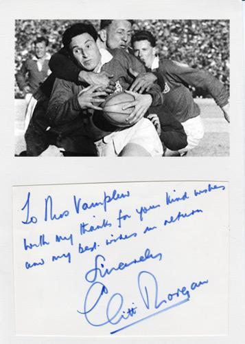 Cliff-Morgan-autograph-signed-Wales-rugby-memorabilia-British-lions-outside-fly-half-Welsh-legend-BBC-TV-commentator-signature-cardiff-rfc-barbarians