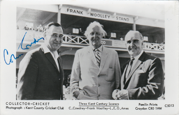 Colin Cowdrey autograph signed Kent CCC cricket memorabilia Frank Woolley Les Ames Stand Canterbury Lord Sir England test captain