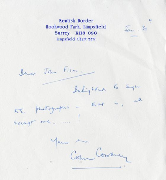 Colin-Cowdrey-autograph-signed-Kent-cricket-memorabilia-KCCC-letter-head-sir-lord-England-captain-photo-kentish-border