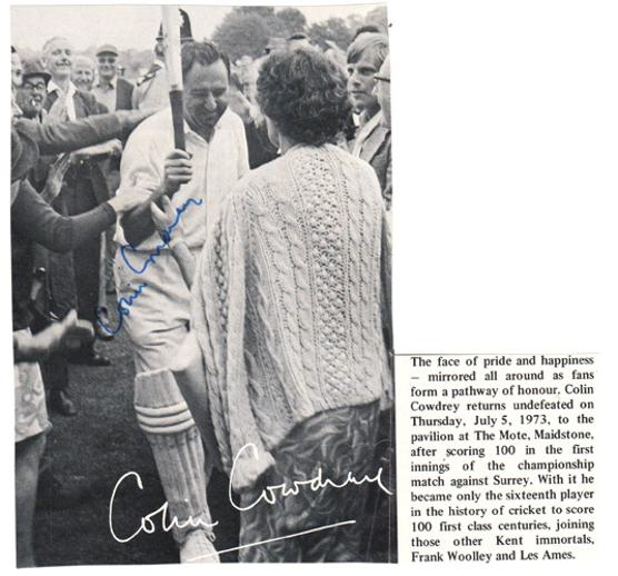 Colin-Cowdrey-autograph-signed-Kent-cricket-memorabilia-Sir-Lord-signature-one-hundred-100s-celebration-KCCC-The-Mote-Maidstone-cricket-week-1973