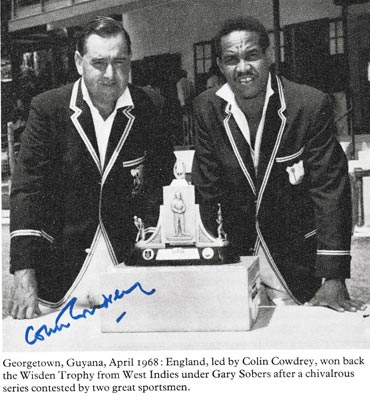 Colin-Cowdrey-autograph-signed-england-cricket-memorabilia-west-indies-garry-gary-sobers-test-captains-kent-kccc