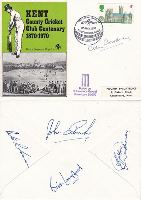 Colin-Cowdrey-autograph-signed-kent-cricket-memorabilia-100th-club-centenary-1870-1970-john-edrich-signature-peter-robinson-brian-langford-hylton-ackerman-first-day-cover-fdc