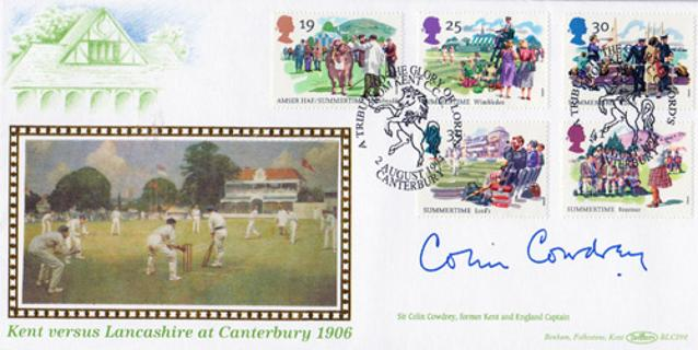 Colin-Cowdrey-autograph-signed-kent-cricket-memorabilia-1994-canterbury-1906-v-lancashire-first-day-cover-fdc-benhams-sir-lord-mcc-england-captain-signature