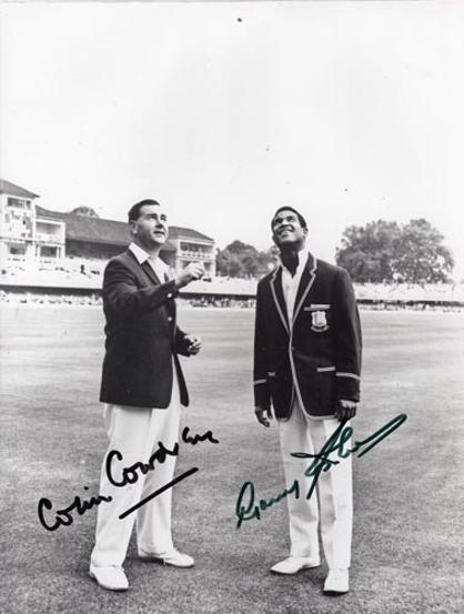 Colin-Cowdrey-autograph-sir-Garry-Gary-Garfield-Sobers-signed-england-west-indies-cricket-memorabilia-toss-lords-legends-captains