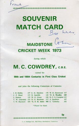 Colin-Cowdrey-memorabilia-autograph-signed-Kent-cricket-memorabilia-Sir-Lord-signature-one-hundred-100s-celebration-scorecard-Maidstone-cricket-week-1973-KCCC