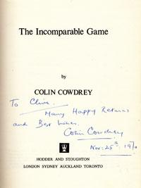 LORD COLIN COWDREY (Kent & England) signed copy of