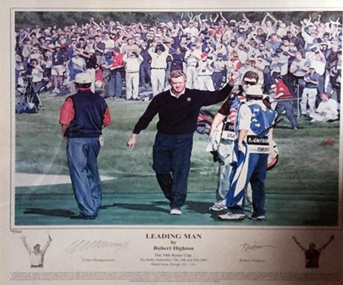 Colin-Montgomerie-memorabilia-Colin-Montgomerie-autograph-signed-Ryder-Cup-golf-memorabilia-Leading-Man-Robert-Highton-artist-Monty-limited-edition-print-framed