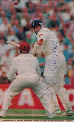 Colin-Wells-autograph-signed-Sussex-Cricket-memorabilia-England-CCC-first-ball-duck-golden-debut-west-indies-ambrose-campbell