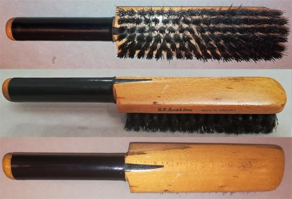 Cricket-bat-clothes-brush-gb-kent-and-sons-mini-bristles-wooden-vintage-antique-treen