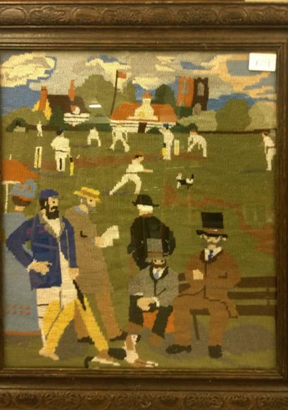 Cricket-memorabilia-victorian-tapestry-match-top-hats-dog-match-old-school-gentlemen-players-craft-framed-artwork-art
