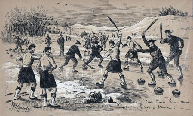 Curling-memorabilia-lithograph-cartoon-1886-RM-Alexander-broom-scotland-winter-sports-rare-antique-print