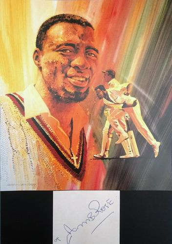 Curtley-Ambrose-autograph-signed-John-Ireland-print-West-Indies-cricket-memorabilia-signature-portrait