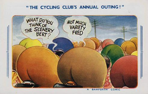 Cycle memorabilia-The-Cycling-Clubs Annual Outing Bamforth-Postcard Bicycle humour comic cartoon