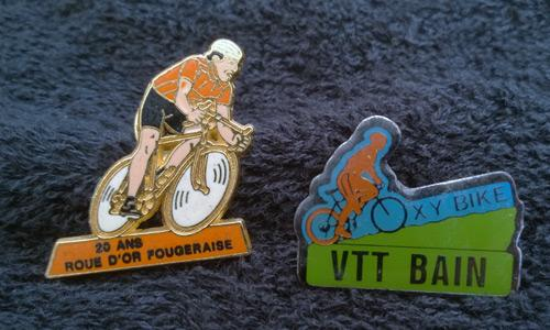 Cycling-memorabilia-cycling-badges-cycling-jewellery-bicycle-bicycling-bling-pin-badge-VTT-Bain-20-ans-roue-dor-fougeraise