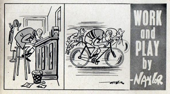 Cycling-memorabilia-cycling-humour-cycling-cartoon-work-and-play-cycling-journalist-blogger-blazin-saddles-bicycle-naylor-artist-cartoonist-boys-own-paper-1953