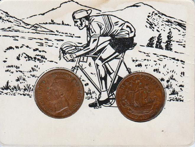 Cycling-memorabilia-halfpenny-wheels-cyclist-road-race-british-coins-art-work-cartoon-framed-cycle-bicycle