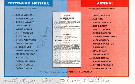 Cyril-Knowles-autograph-signed-Spurs-memorabilia-Testimonial-programme-Tottenham-Hotspurs-Jennings-Chivers-Hoddle-Jones-1975