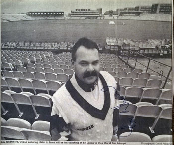 DAV-WHATMORE-memorabilia-Dav-Whatmore-autograph-signed-Sri-Lanka-cricket-memorabilia-newspaper-pic-Lancs-CCC