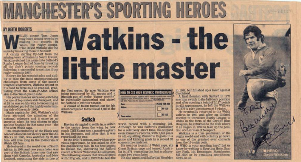 DAVID WATKINS memorabilia signed Rugby League newspaper article Salford Wales rugby league memorabilia union autograph
