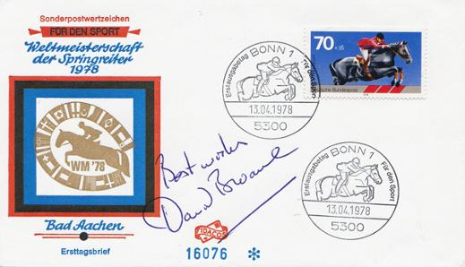 DAVID-BROOME-autograph-signed-show-jumping-First-day-cover-FDC-1978-Bad-Aachen-autographed-equestrian-sporting-memorabilia