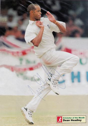 DEAN-HEADLEY-autograph-signed-Kent-cricket-memorabilia-KCCC-Spitfires-England-test-match-bowler-all-rounder-deano-the-crickter-of-the-month-magazine