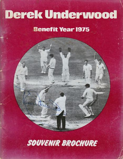 DEREK UNDERWOOD memorabilia signed Kent cricket memorabilia 1975 Benefit brochure Deadly