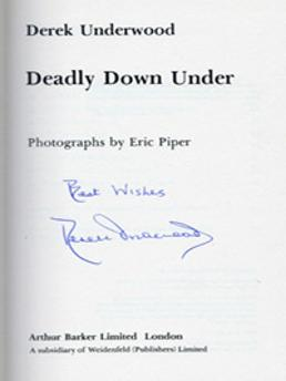 DEREK-UNDERWOOD-autograph-Kent-cricket-memorabilia-book-Deadly-Down-Under-England-in-Australia-1979-80-ashes-diary-first-edition-signature