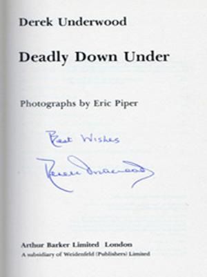 DEREK-UNDERWOOD-autograph-Kent-cricket-memorabilia-book-Deadly-Down-Under-England-in-Australia-1979-80-diary-ashes-first-edition-signature
