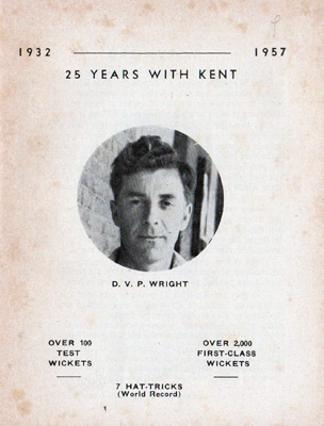 DVP-Doug-Wright-kent-cricket-memorabilia-1957-benefit-brochure-testimonial-england-kccc-leg-spinner-seven-hat-tricks-unluckiest-bowler-in-the-world-1932-book