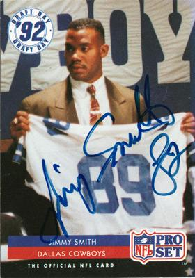 Dallas-Cowboys-American-football-memorabilia-Jimmy-Smith-signed-Too-Tall-autograph-NFL-Draft-Day-Pro-Set-Card-1992-Jaguars