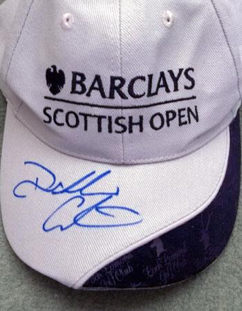 Darren Clarke signed Loch Lomond Golf Course Scottish Open golfing cap autograph memorabilia