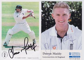 Darren Maddy Warks Leics CCC England signed cricket autograph cards