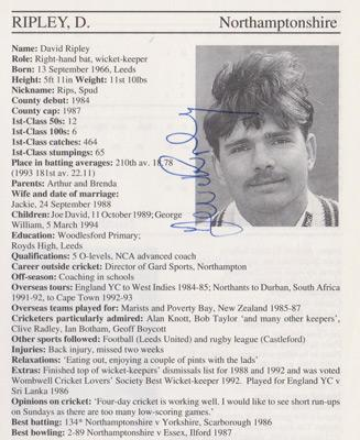 David Ripley-autograph-signed-northamptonshire-cricket-memorabilia-northants-ccc-wicket-keeper-whos who-signature