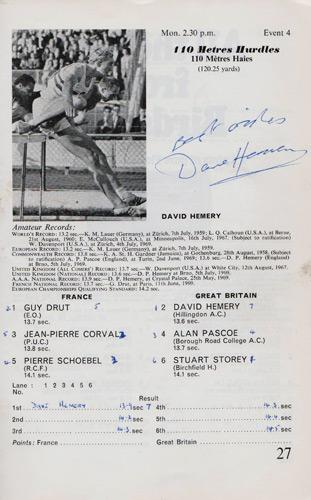 David-Hemery-autograph-signed-athletics-memorabilia-400-metres-hurdles-mexico-city-olympics-1968-gold-medal-champion-superstars-1969-Great-Britain-programme