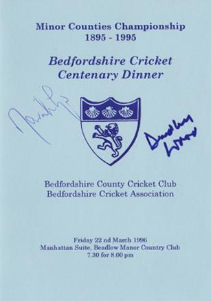 David-Lloyd-autograph-signed-lancashire-cricket-memorabilia-england-coach-captain-sky-sports-bumble-dudley-wood-signature-bedfordshire-minor counties dinner-menu