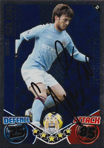 David Silva autograph Man City football memorabilia signed Match Attax player card signature collectable