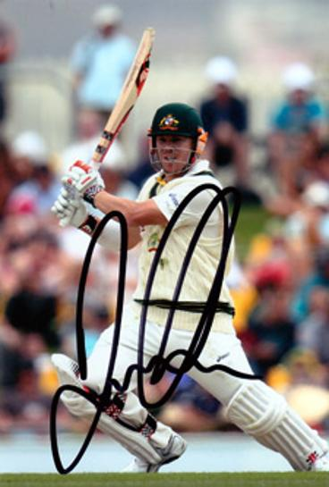 DAVID WARNER hand-signed Aussie cricket photo