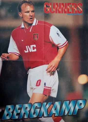 Dennis-Bergkamp-signed-A3-Arsenal-FC-football-memorabilia-poster-Gunners-Flying-Dutchman-autograph-signature-soccer-AFC