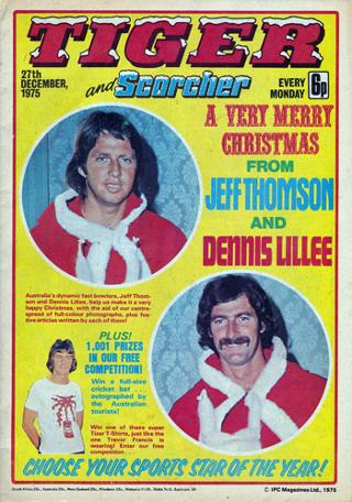 DENNIS LILLEE & JEFF THOMSON front cover 1975 Xmas edition of Tiger Comic