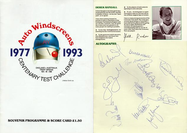 DEREK RANDALL SIGNED 1977 Centenary test brocchure