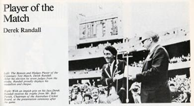 Derek-Randall-memorabilia-1977-Centenrary-Ashes-Test-brochure-Man-of-Match-award-cricket-memorabilia