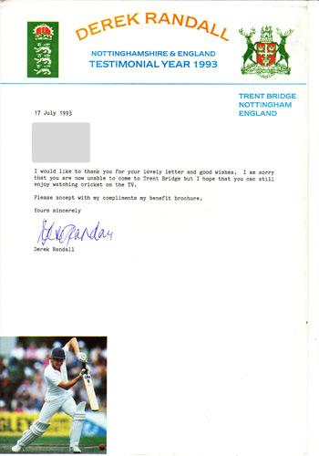 Derek Randall signed Notts CC 1993 Benefit Year Letter