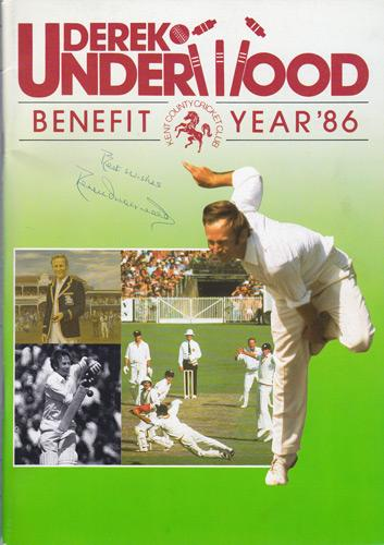 Derek-Underwood-autograph-signed-Kent-Cricket-memorabilia-KCCC-1986-benefit-brochure-Deadly-Derek-England-Test-match-Spitfires