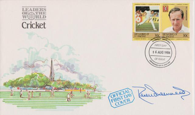 Derek-Underwood-autograph-signed-kent-cricket-memorabilia-first-day-cover-grenadines-st-vincent-stamps-first-day-cover-fdc-deadly-1984-leaders-of-the-world-kccc