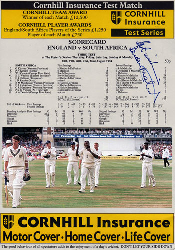 Devon-Malcolm-Derbys-CCC-England-signed-9-for-57-Test-Match-cricket-scorecard-v-South-Africa Wisden cover autograph Lashings
