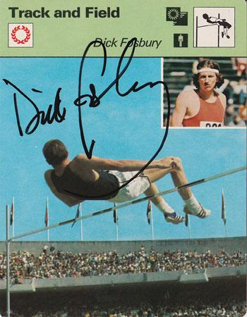 Dick Fosbury memorabilia signed high jump card Mexico 1968 gold medal champion fosbury flop autograph