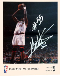 DIKEMBE MUTUMBO (8-time All-Star) signed NBA Player card.