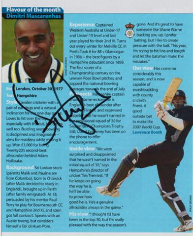 Dimitri-Mascarenhas-autograph-signed-Hants-Cricket-memorabilia-Hampshire-CCC-England-test-match-dimi-all-rounder-ipl-otago
