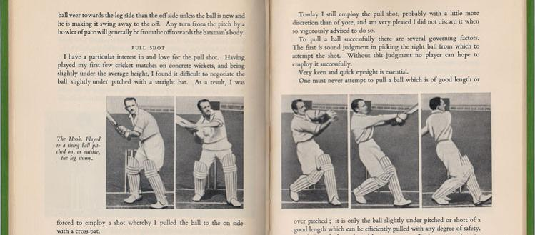 Don Bradman How To Play Cricket book 1953 Hooking photo sequence pages
